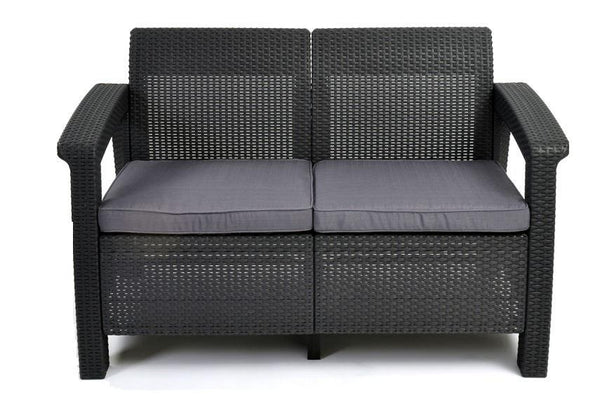 Keter Corfu 2 Seater Rattan Sofa with Cushions - Graphite