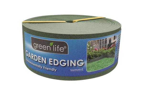 Greenlife Recycled Plastic Garden Edging - 10m x 75mm - Eucalypt Green