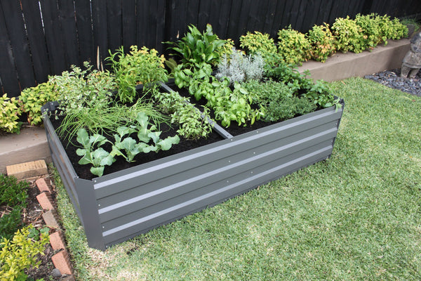 Greenlife Premium Large Raised Garden Bed with 4 Support Braces - 1800 x 900 x 450mm - Slate Grey
