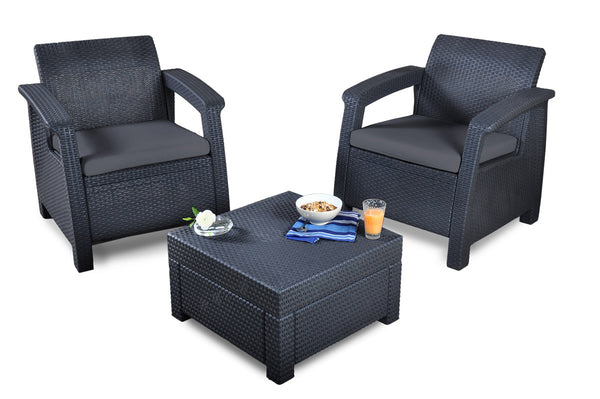 Keter Corfu Rattan Balcony Set with Cushions - Graphite