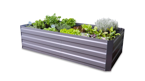 Greenlife Large Raised Garden Bed with 2 Support Braces 1800 x 900 x 450mm - Slate Grey