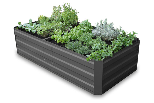 Greenlife Large Raised Garden Bed with Support Braces  - 1800 x 900 x 450mm - Charcoal