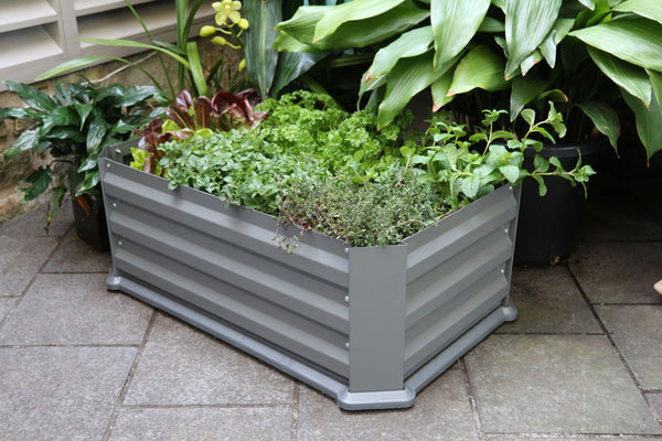 Greenlife Patio Raised Garden Bed with Base - 800 x 500 x 300mm - Slate Grey