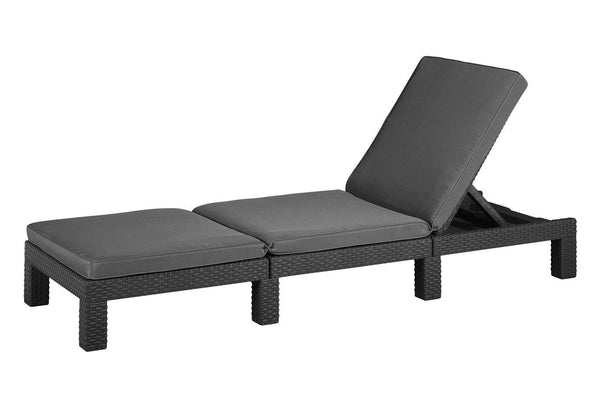 Keter Daytona Wicker Sun Lounger with Cushions - Graphite
