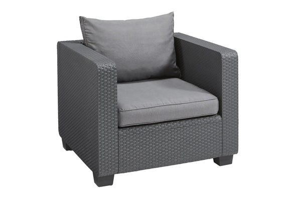Keter Salta Rattan Single Chair with Cushions - Graphite