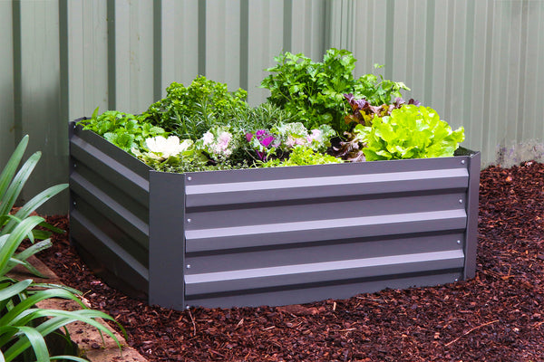 Greenlife Square Raised Garden Bed - 850 x 850 x 300mm - Slate Grey