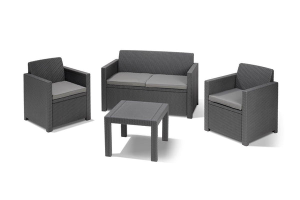 Keter Alabama Wicker Lounge Set with Cushions - Graphite