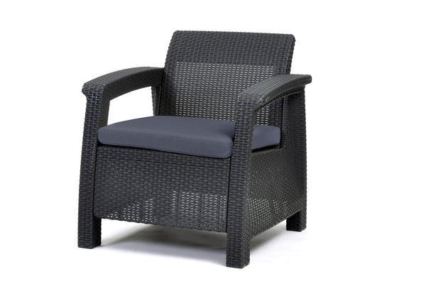 Keter Corfu 4 Seater Rattan Lounge Set with Cushions - Graphite