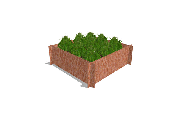 Greenlife Corten Steel Raised Garden Bed - 900 x 900 x 295mm