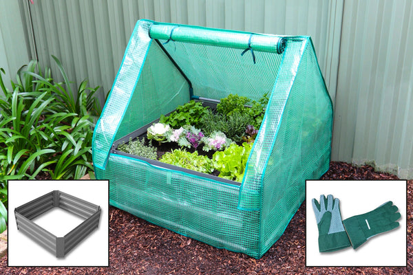 Raised Garden Bed + Drop Over Greenhouse + Gloves: 3-in-1 Combo Value Pack