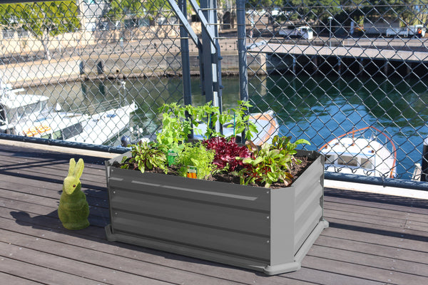 Greenlife Patio Raised Garden Bed with Plastic Base - Slate Grey