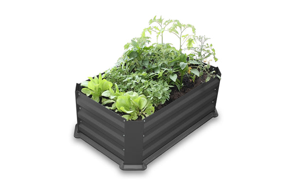 Greenlife Patio Raised Garden Bed with Plastic Base - Charcoal
