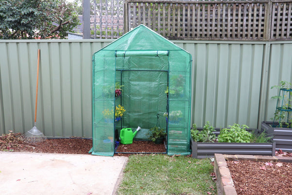 Greenlife 2 Tier Walk-in Greenhouse with PE Cover - 1950 x 1430 x 730mm