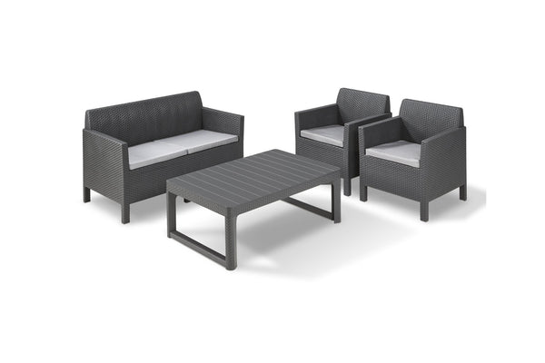 Keter Orlando Lounge Set with Lyon Table and Cushions - Graphite