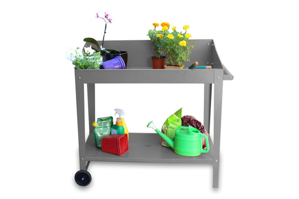 Greenlife Sturdy Mobile Potting Bench - 1000 x 550 x 1010mm - Slate Grey