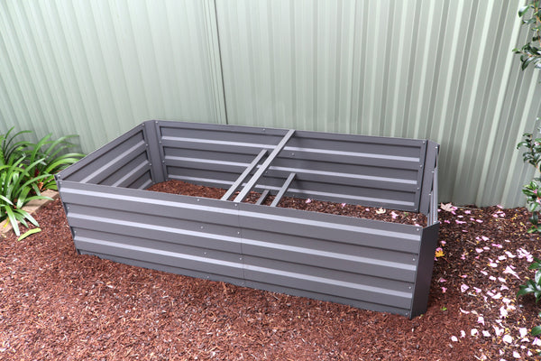 Greenlife Large Raised Garden Bed  with Support Braces - 1800 x 900 x 450mm - Slate Grey