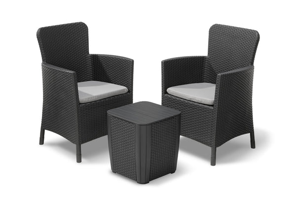 Keter Miami Outdoor Rattan Balcony Set with Cushions - Graphite