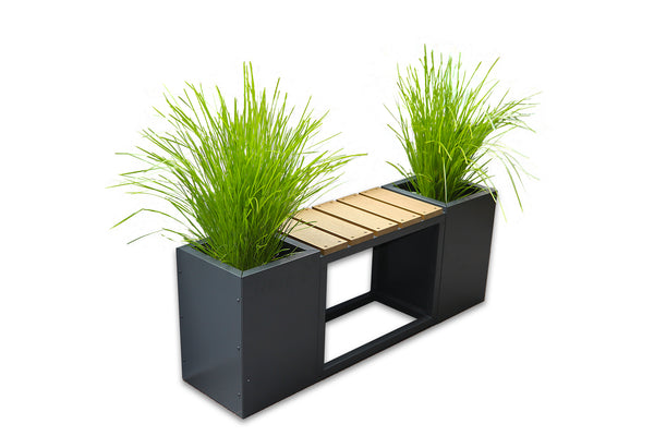 Greenlife Metal Planter Boxes with Composite Seat Charcoal 1200 x 300 x 450mm