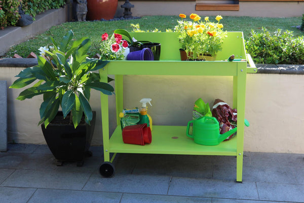 Greenlife Sturdy Mobile Potting Bench - 1000 x 550 x 1010mm - Fresh Lime