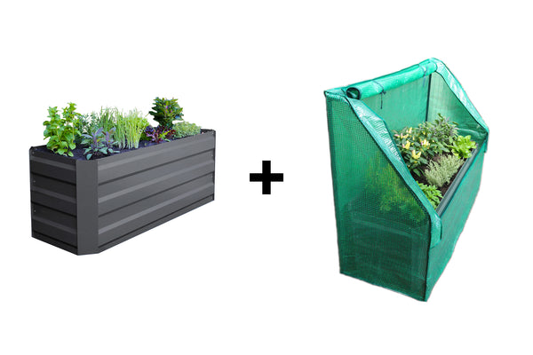 Slimline Garden Bed - Charcoal + Drop Over Greenhouse