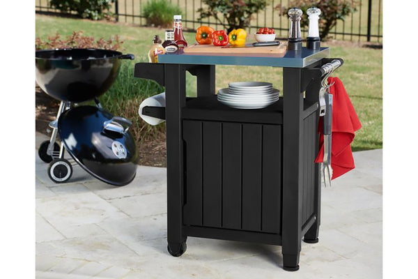 Keter Unity Mobile BBQ Prep and Storage Unit with Steel Bench Top
