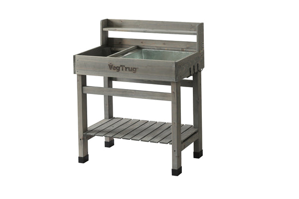 VegTrug Wooden Potting Bench - Grey Wash