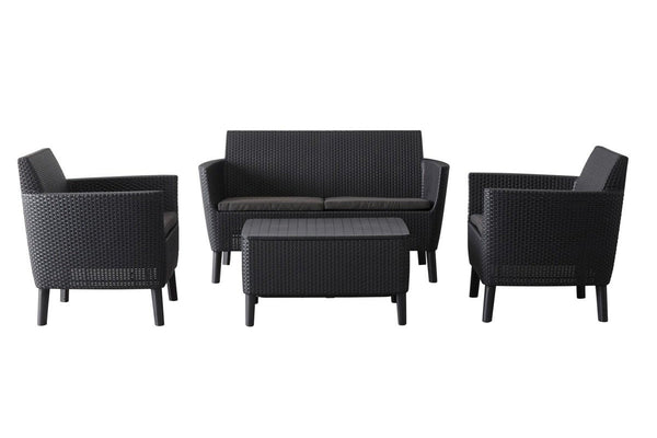 Keter Salemo Rattan Lounge Set with Cushions - Graphite