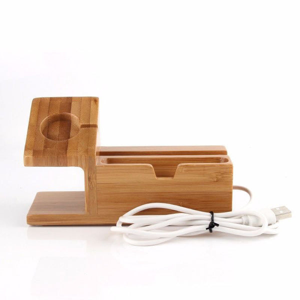 Bamboo Charger Charging Dock Station Holder Stand For Apple Watch iPhone - CNCstyle by Chloe&Claire