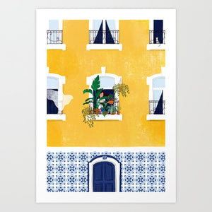Blue and Yellow Azulejos Architecture Print