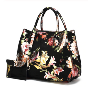 Floral Brocade Top Handle Bag