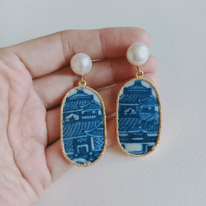 Pagoda blue and white porcelain earrings with FW pearls