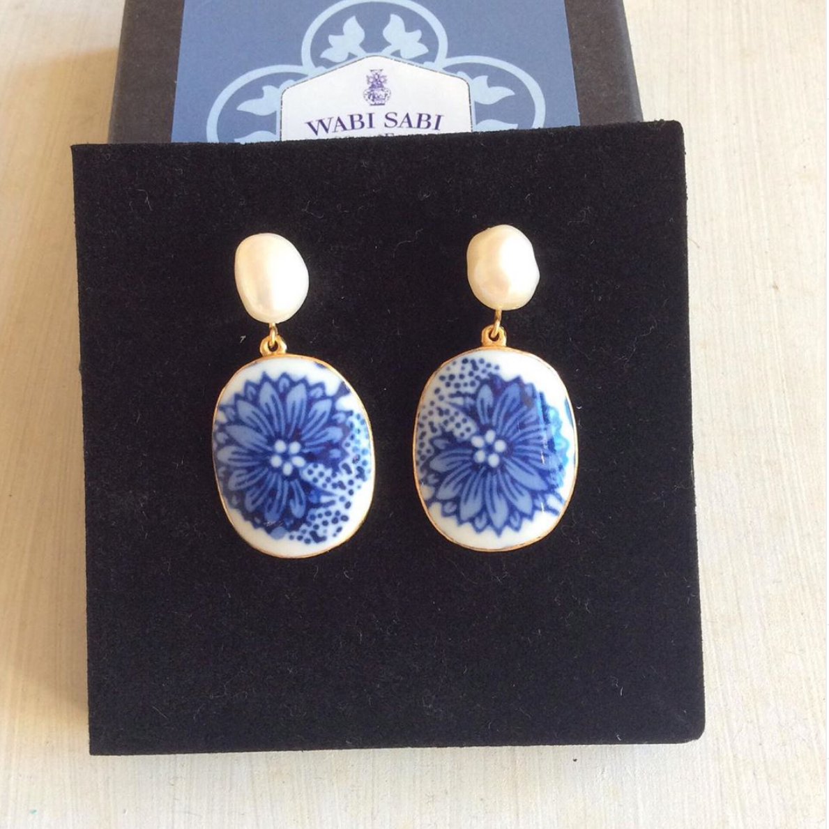 Chinoiserie Blue & White Porcelain Earrings With Freshwater Pearl Studs