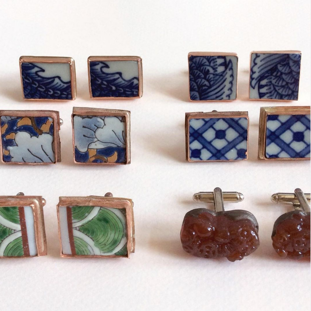 Custom order for taylor6mom. Porcelain Cufflinks