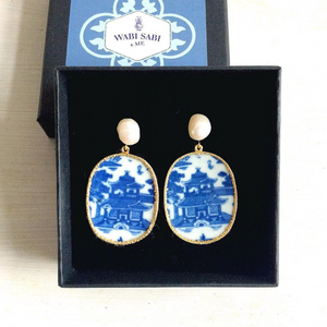 Chinoiserie Pagoda Blue & White Porcelain Earrings With Freshwater Pearls