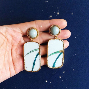 Blade Of Grass 'Kintsugi' Porcelain Earrings With Twisted Rope Jade Studs
