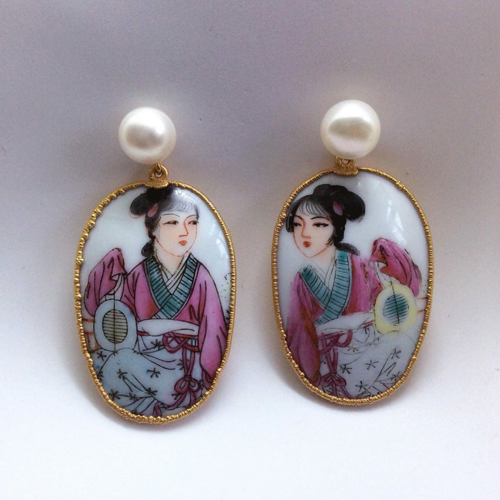 Ladies With Fans Porcelain Earrings. Pearl Or Black Onyx Studs.