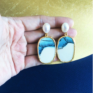 Rock Face Porcelain And Freshwater Pearl Earrings