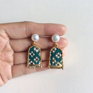 Green and white geometric SE Asian motif porcelain freshwater pearl studs