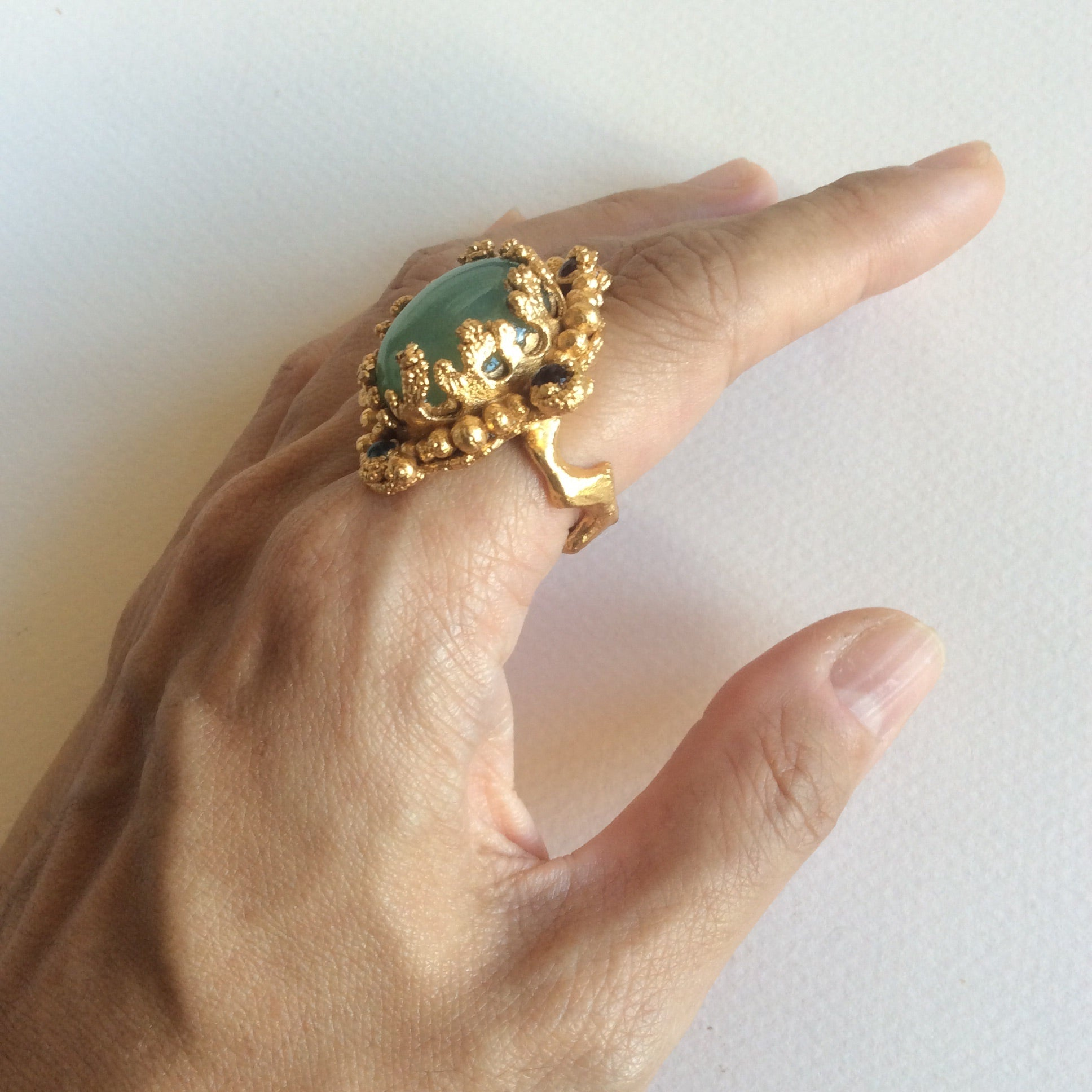 Ancient gold treasure bold statement ring