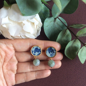 Chinoiserie porcelain stud earrings with jade drops