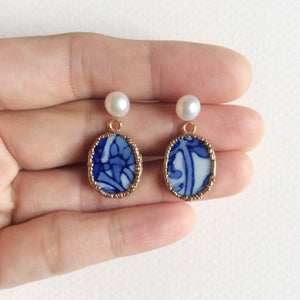 Blue and white vines porcelain & mini freshwater pearl earrings