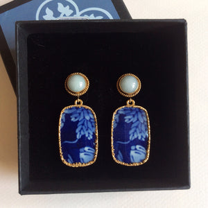 Jade twisted rope studs with midnight blue porcelain earrings