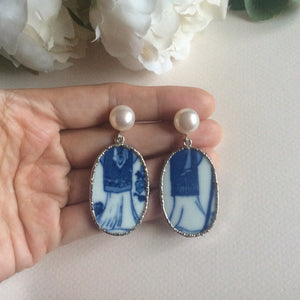 Abstract blue and white porcelain earrings with FW pearls