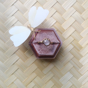 Paris natural morganite ring. Velvet ring box included.