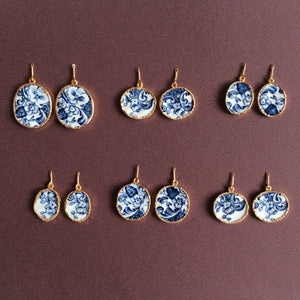 Azulejos porcelain earrings with round freshwater pearls