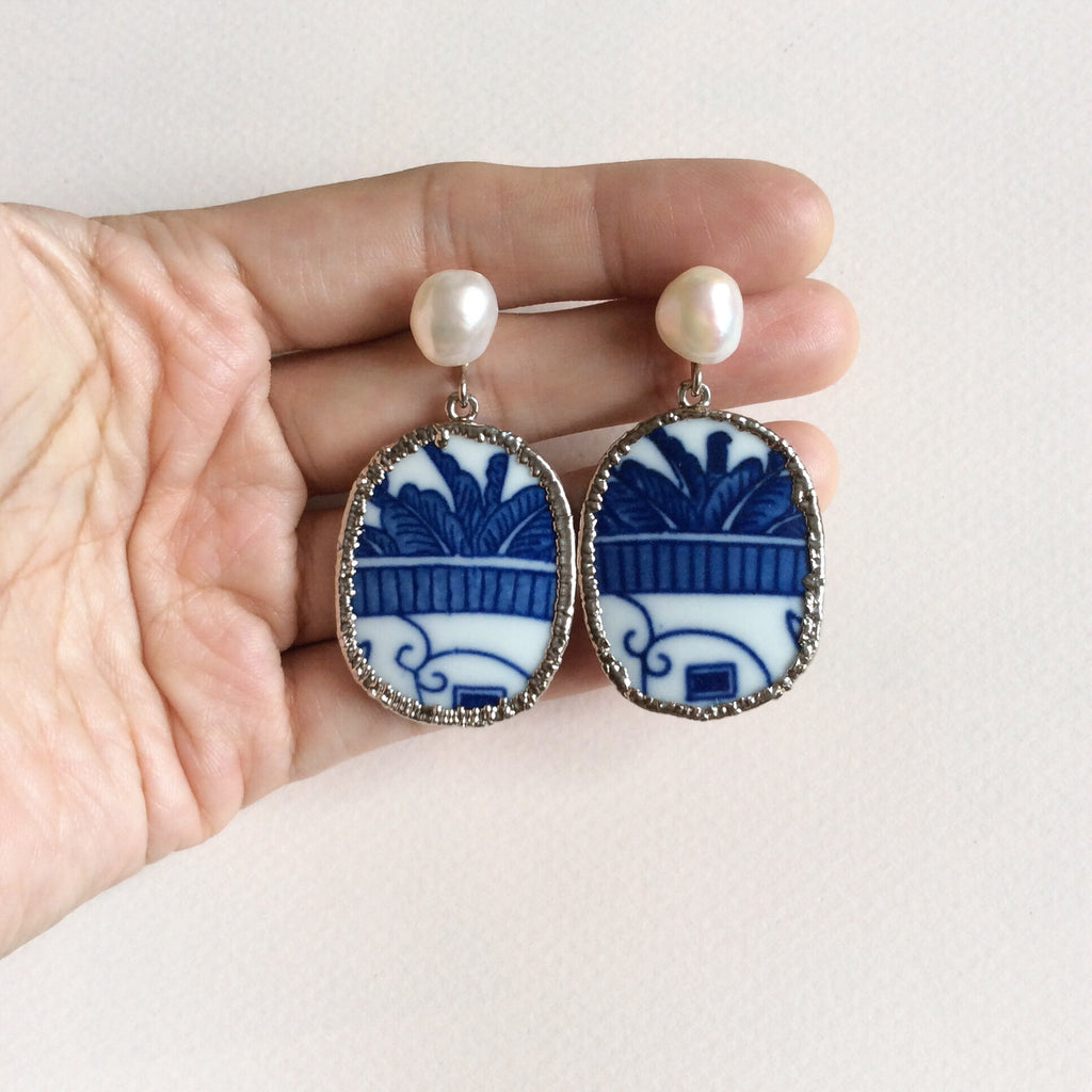 Blue and white palm frond chinoiserie porcelain earrings with freshwater pearls