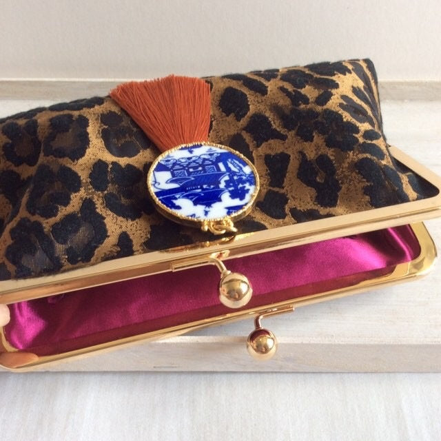 Leopard Brocade Fabric Clutch