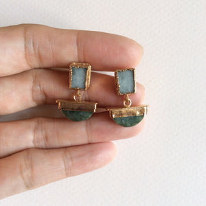 Jade Viking sailboat earrings