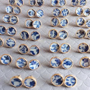 FREE SHIPPING - Chinoiserie Blue And White Porcelain Stud Earrings
