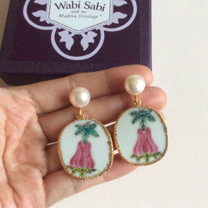 Angel's trumpet porcelain earrings with FW pearls